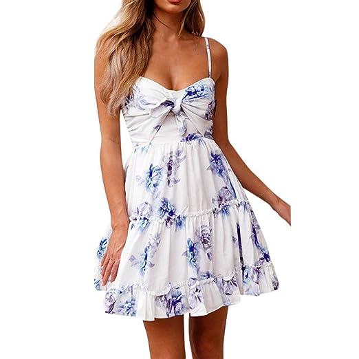 KaloryWee Vestidos para Mujer, Floral, espaghetti, Corbata, Nudo ...