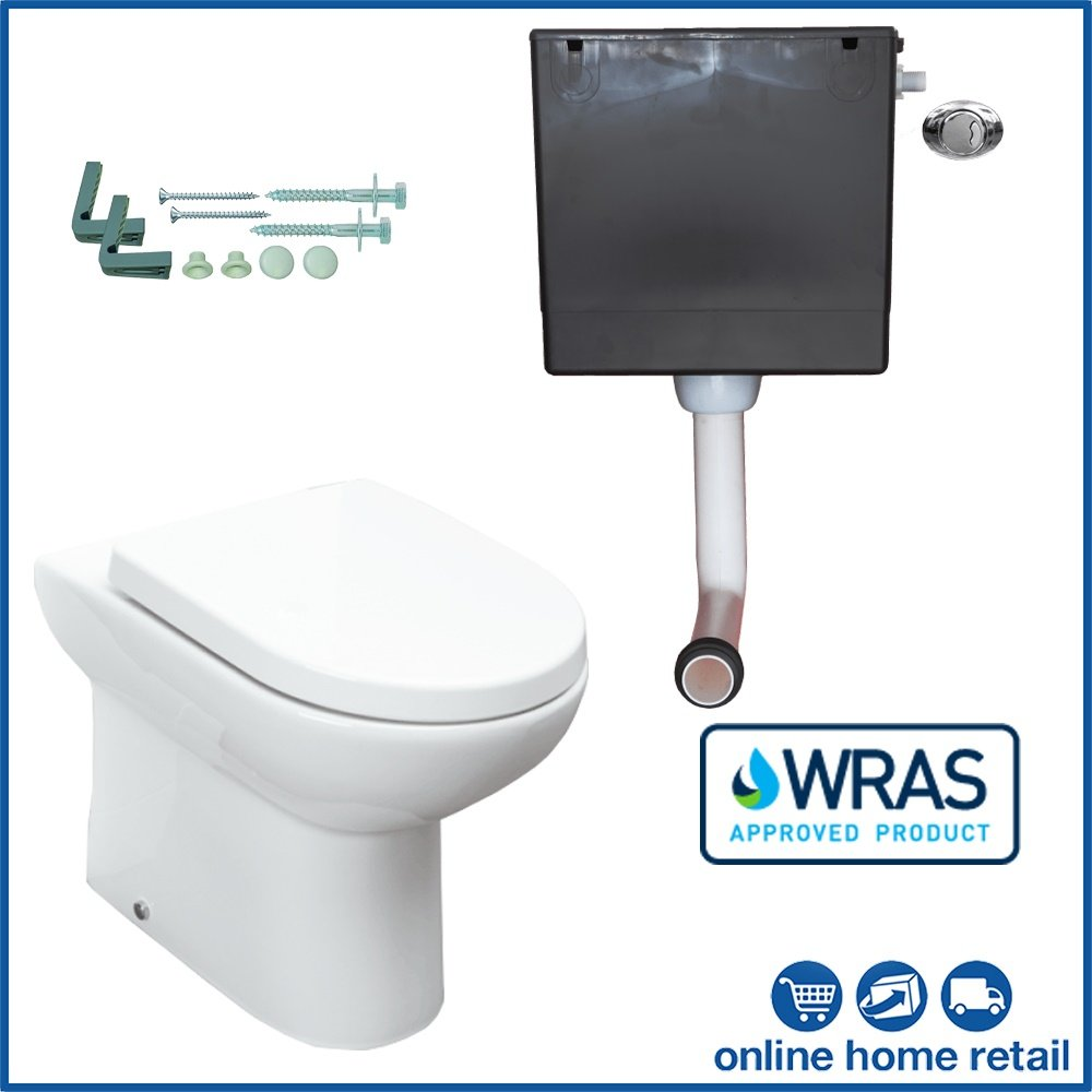Affine BTW Back to Wall Toilet WC Pan Soft Close Seat Concealed Cistern Floor Fix Kit