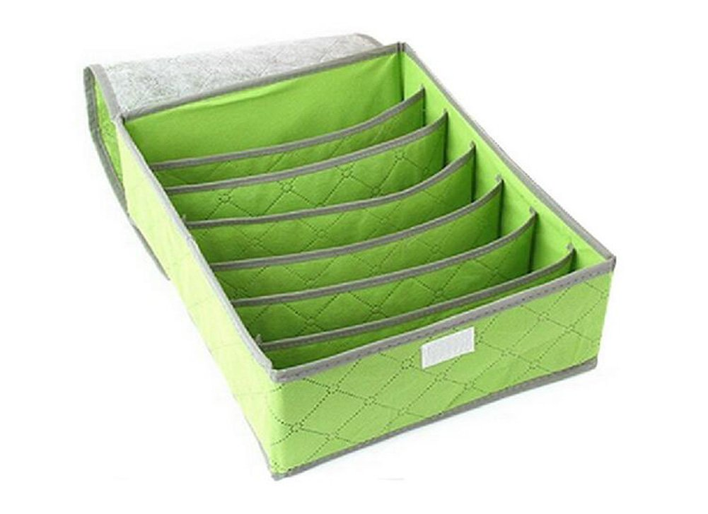 7 Grid Green Dust-Proof Drawer Dividers Closet Organizers Fabric Closet/ Storage Organizer Box Foldable Bedroom Organizers Underwear Bras Socks and Lingerie Storage Boxes with Lid (Green) erioctry