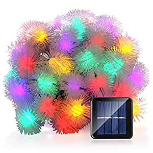 LUCKLED Solar String Lights, 23ft 50 LED Chuzzle Ball Fairy Decorative Lights for Outdoor, Home, Lawn, Garden, Patio, Party and Holiday Decorations (Multi-Color)