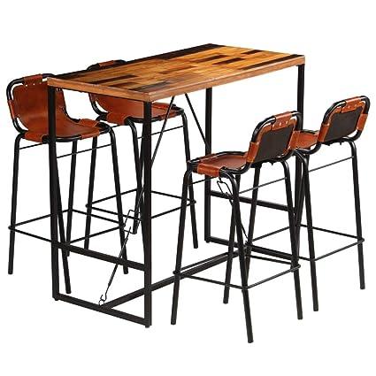 Tavolini E Sedie Da Bar.Vidaxl Set Da Bar 5 Pz Massello Recupero E Vera Pelle Di