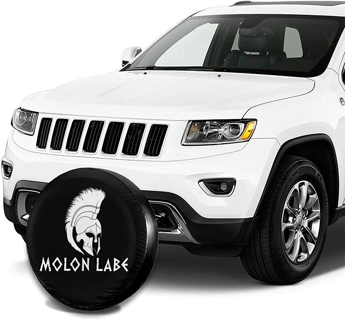 14,15,16,17 Inch PIOL Molon Labe Spartan Warrior Helmet Spare Tire Cover Dust-Proof Universal Wheel Protector Fit for Jeep and Various Vehicles