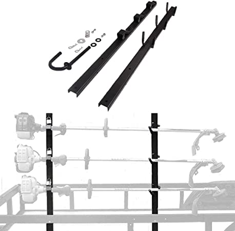 OPEN Landscape Trailer with locks 1 Pair 3-Place Weedeater Edge Trimmer Rack