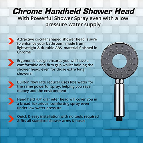 durable service Chrome Handheld Shower Head with Powerful Shower Spray even with a low pressure water supply
