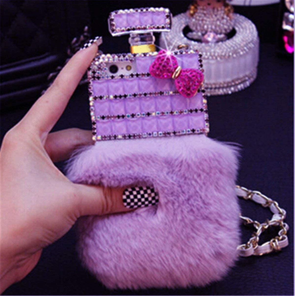 Fusicase for iPhone Xs Max Perfume Case Luxury Shiny Crystal Sparkle Rhinestone Perfume Bottle Cover with Rabbit Fur Bling Diamond Hair Plush Case for iPhone Xs Max with Crossbody Neck Strap Lanyard