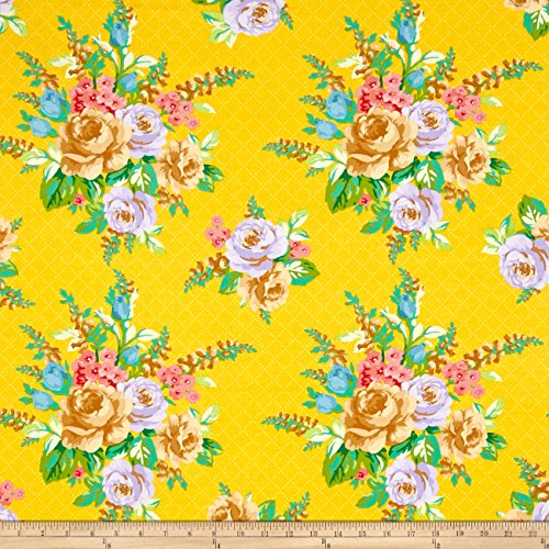 Marcus Brothers Mostly Manor Lg Floral Yellow Fabric by The Yard ()