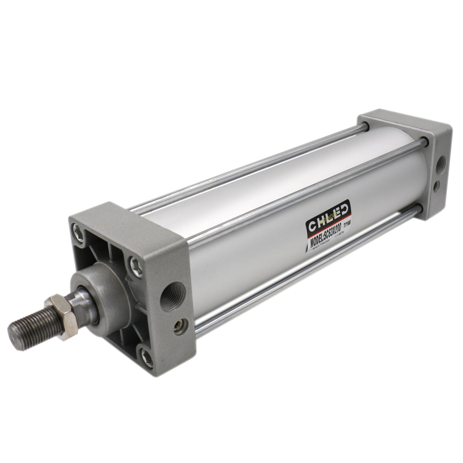 Baomain Pneumatic Air Cylinder SC 63 x 200 PT 3/8, Bore: 2 1/2 inch, Stroke: 8 inch, Screwed Piston Rod Dual Action