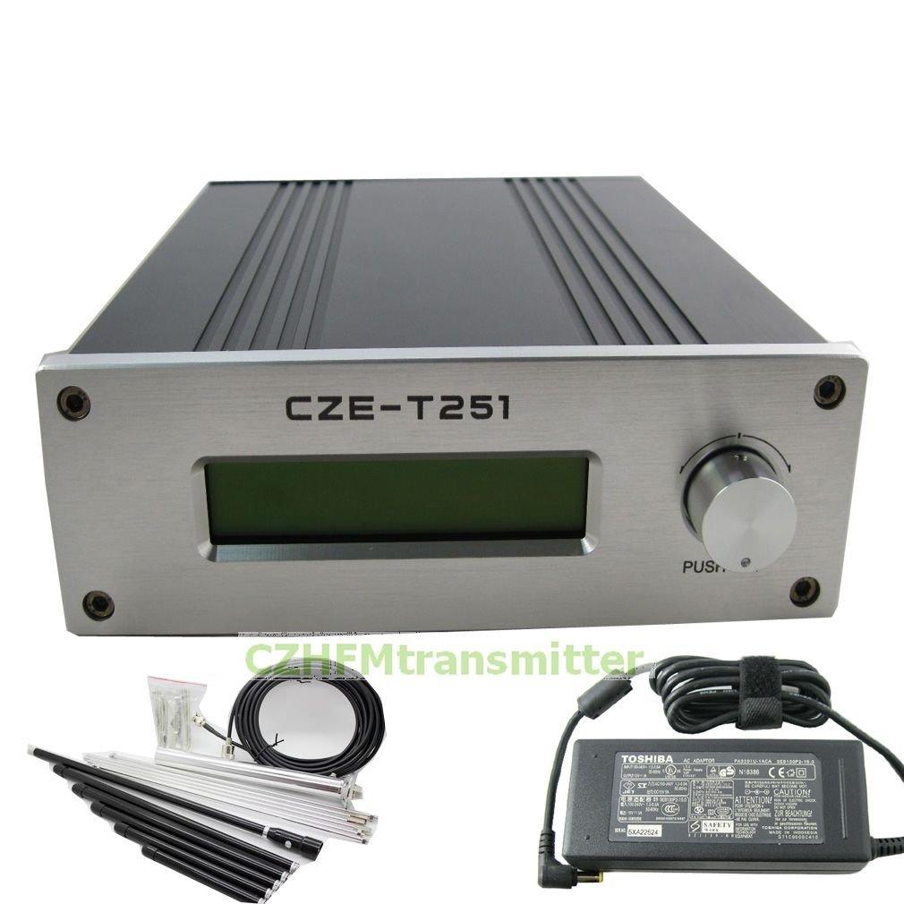 CZH CZE-T251 25w Fm Transmitter Broadcast 0-25w Power Adjustable 87-108mhz 1/4 Wave Antenna Nj Kit
