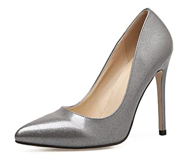 SHOWHOW Damen Glitzer Paillette Spitz Zehe Stiletto Pumps Schwarz 36 EU