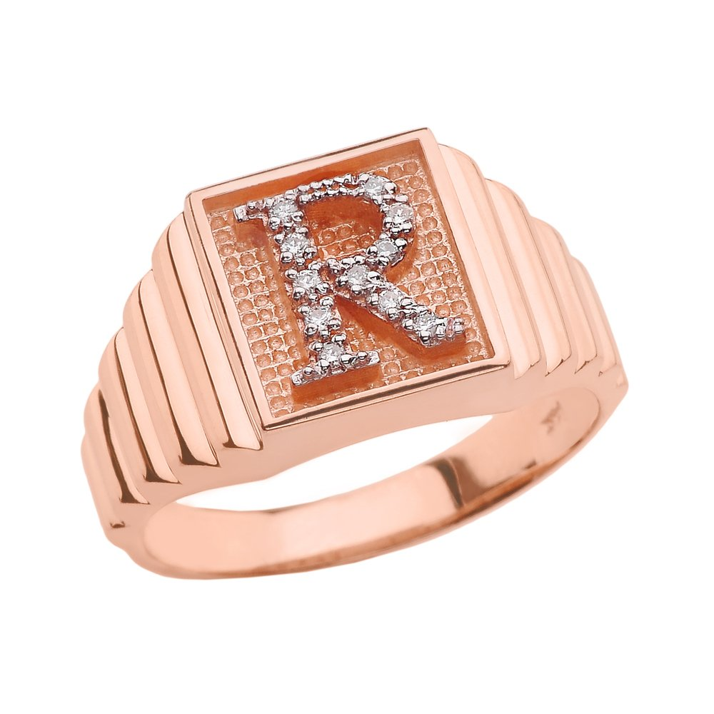 Men's 10k Rose Gold Layered Band Square Face Diamond Initial Letter R Ring (Size 8.5)
