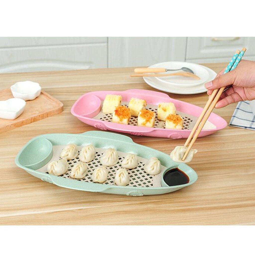 Wall of Dragon Fish Shaped Drain Tray Serving Dish Kitchen Plate Dumpling Blue Green