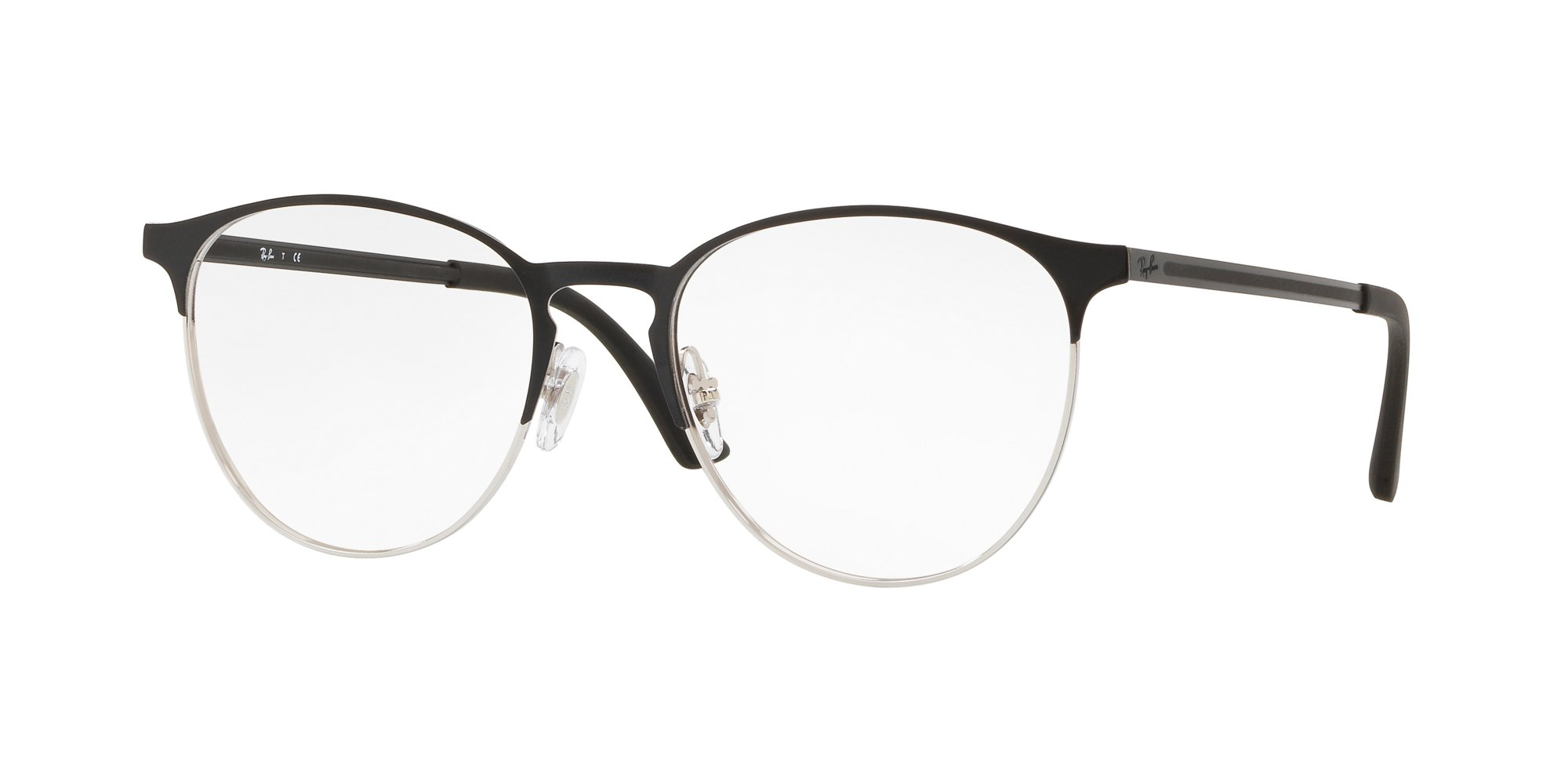 Ray-Ban RX6375 Round Metal Eyeglass Frames, Black On Silver/Demo Lens, 53 mm by Ray-Ban