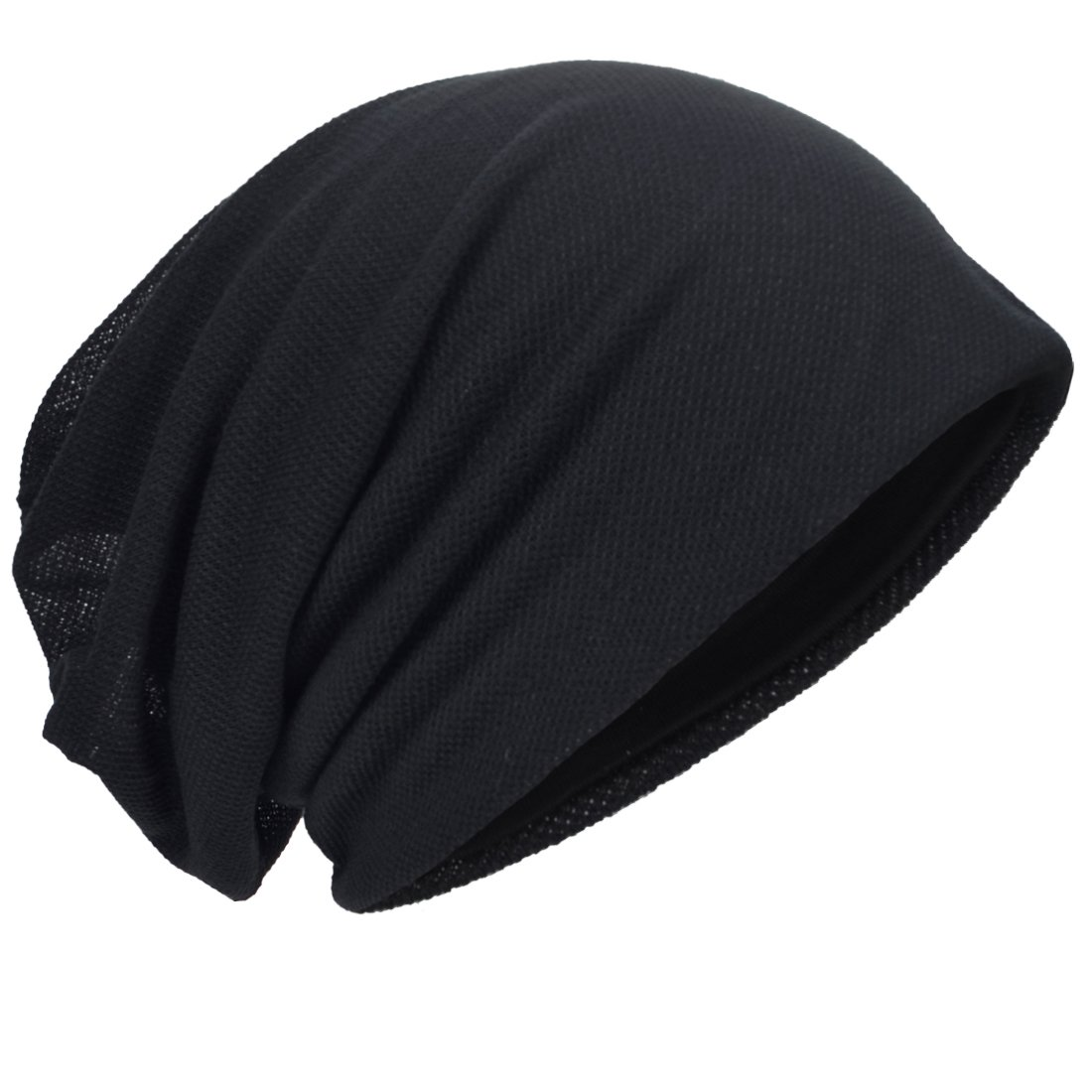 7966a6dd1c189 HISSHE Men Slouch Beanie Baggy Slouchy Skullcap Knit Hat (Black) at Amazon  Men s Clothing store