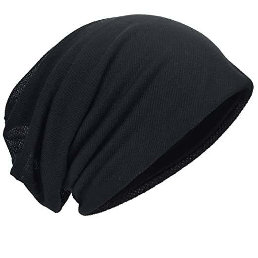 5102319d316 HISSHE Men Slouch Beanie Baggy Slouchy Skullcap Knit Hat (Black) at ...