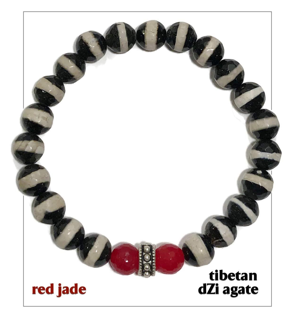Red Jade Tibetan dZi Agate Chakra Yoga Reiki Healing Energy Zen Meditation Jewelry KarmaArm Good Luck Wellness Self-Care Bracelets Lucky Bracelet