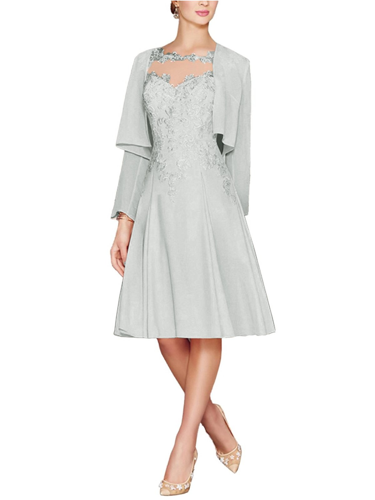 ea91b35f72b ... Tea Length Lace Chiffon Mother of The Bride Dresses Two Pieces with  Jacket Silver US8.   