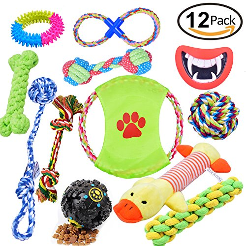 Dog Gift Box (Dog Toys 12 Pack Gift Set, Pet Teething Toys Cotton Ball Rope and Chew Squeaky Toys for Medium to Small Doggie)