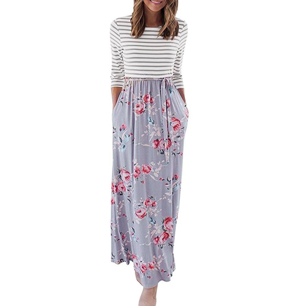 Siviki Women Floral Tank Maxi Dress with Pocket Long Sleeve Tunic Waist Tie-Belt Casual Summer Long Dress (S, Gray)