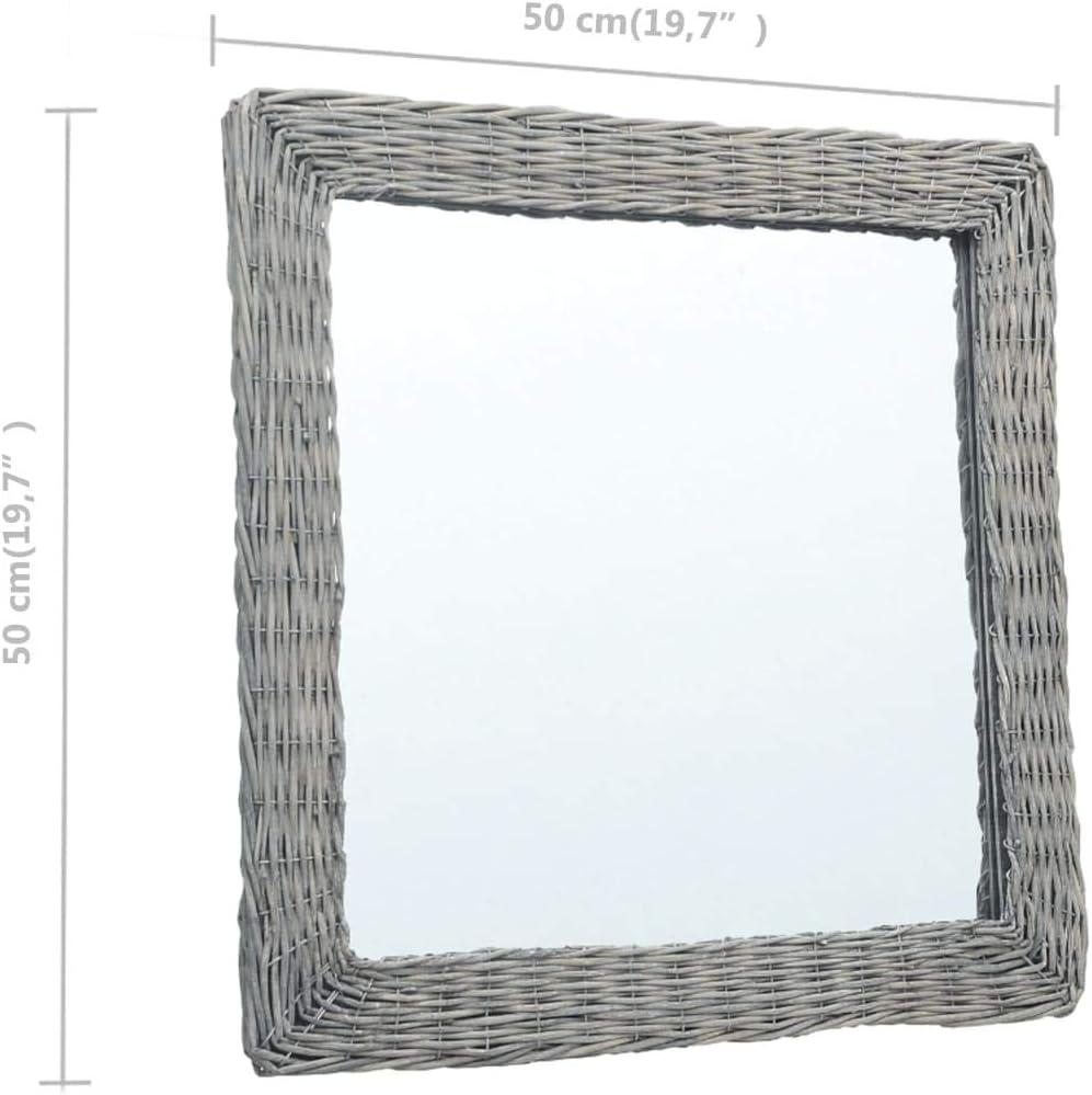 Festnight Specchio Quadrata da Parete con Cornice in Vimini Specchio da Bagno Specchio da Muro 50x50 cm//60x60 cm