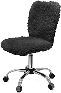 Urban Shop Faux Fur Task Chair, Black, One Size