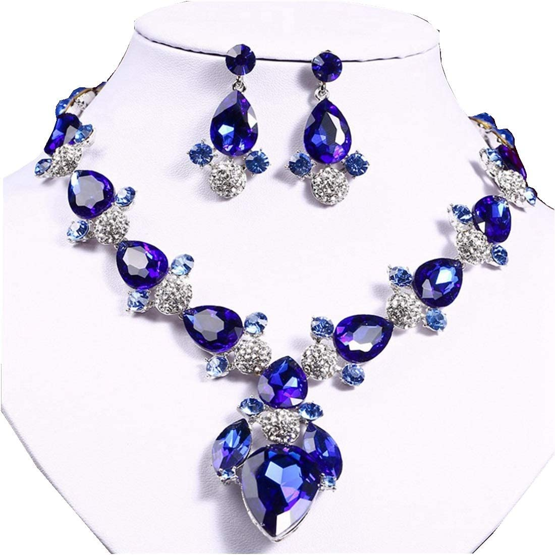 Color : Blue RABILTY Exaggerated Crystal Crystal Necklace Ear Stud Necklace Two Piece European and American Party Wedding Jewelry White AB Jewelry Set