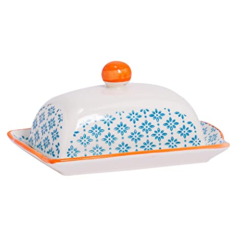 Nicola Spring Hand Printed Butter Dish With Lid Japanese Style Porcelain Kitchen Container Blue 185 X 12cm