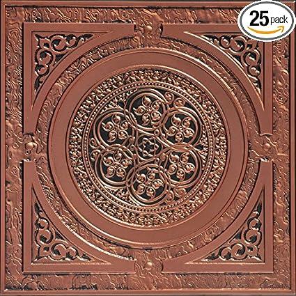 steampunk faux tin ceiling tile antique copper 25 pack - Faux Tin Ceiling Tiles