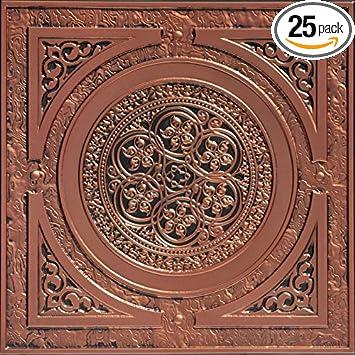 Steampunk Faux Tin Ceiling Tile   Antique Copper 25 Pack
