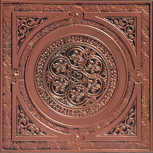 Steampunk-Faux Tin Ceiling Tile - Antique Copper 25-Pack by Decoraids