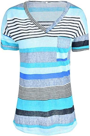 Course Camisa Raya Mujer Cuello Redondo Manga Corta Casual Blusa Suelto Rojo y Top Azul Shirt Verano Playa y Fiesta Top Verano Mujer Camisa Talla Grande Mujer S-5XL: Amazon.es: Ropa y accesorios