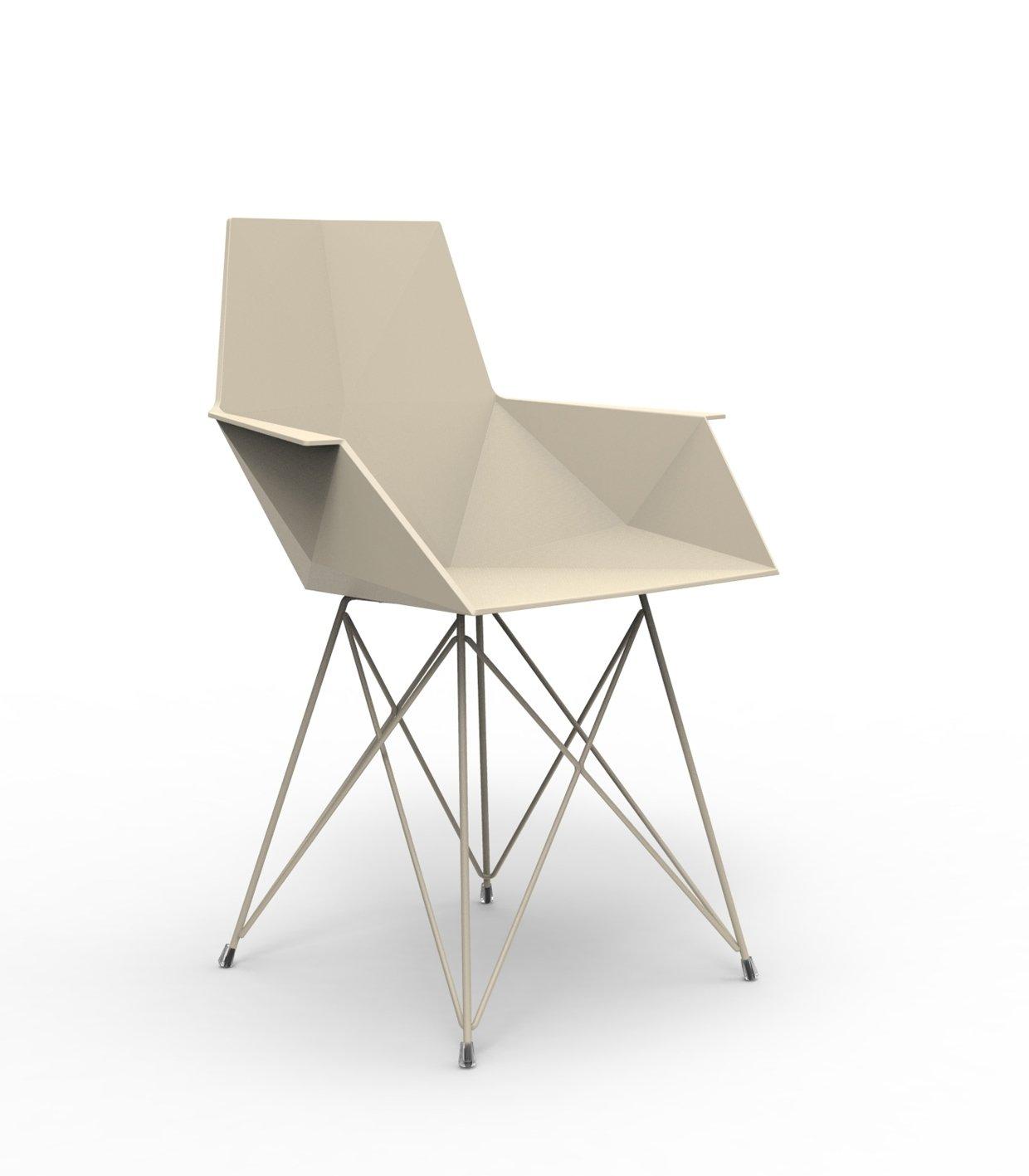 Vondom FAZ Stuhl mit Armlehnen - ecru - Stahlgestell - Ramón Esteve - Design - Esszimmerstuhl - Gartenstuhl