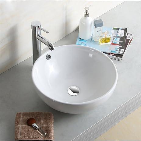 Singoracer Round Bathroom Vanity Vessel Sink Basin + Pop Up Drain / White  Porcelain Ceramic Bowl
