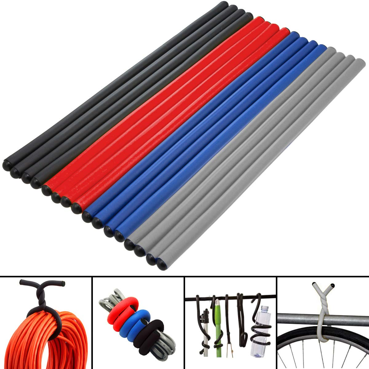"""(16 Pack) Large Twist Ties Heavy Duty 16"""" Reusable Flexible Cable Home Organization and Storage"""