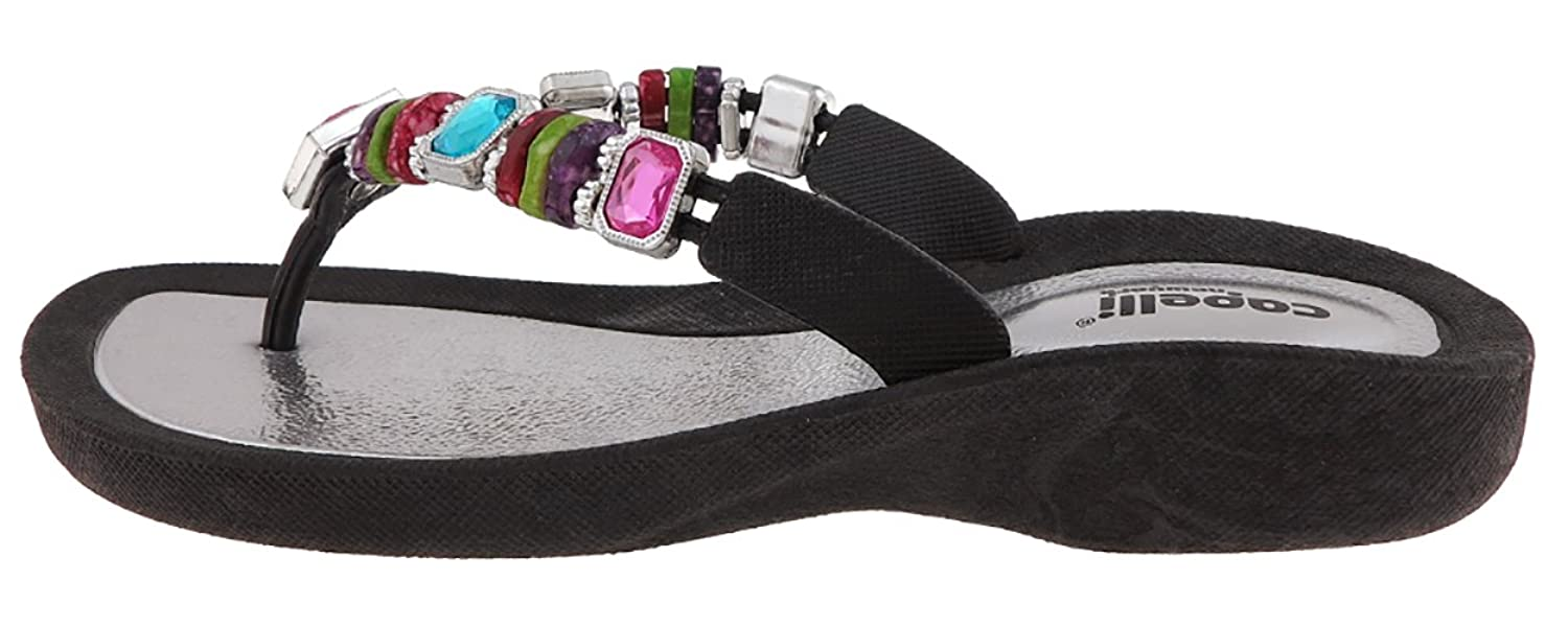 942aa37594db Capelli New York Molded Injected Thong With Rainbow Beads Trim Ladies Flip  Flops