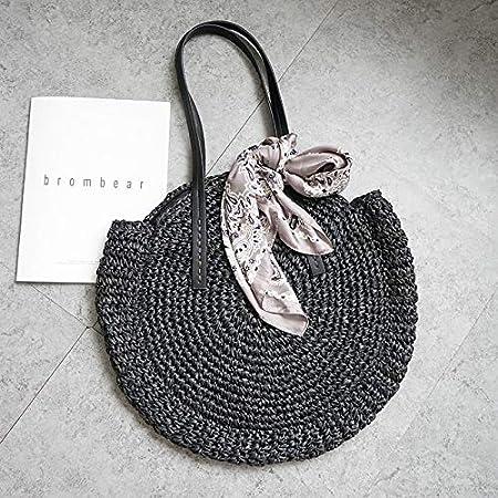 Amazon.com: Bolso redondo de pajita para beachandbag tejido ...