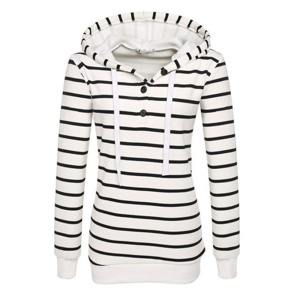 Usstore  Hot!Women Stripe Hoodie Sweatshirt Fall Winter Casual Mandatory Slim-fit Button Tops Shirt Pullover Jumper Usstore Men' s pant clothes