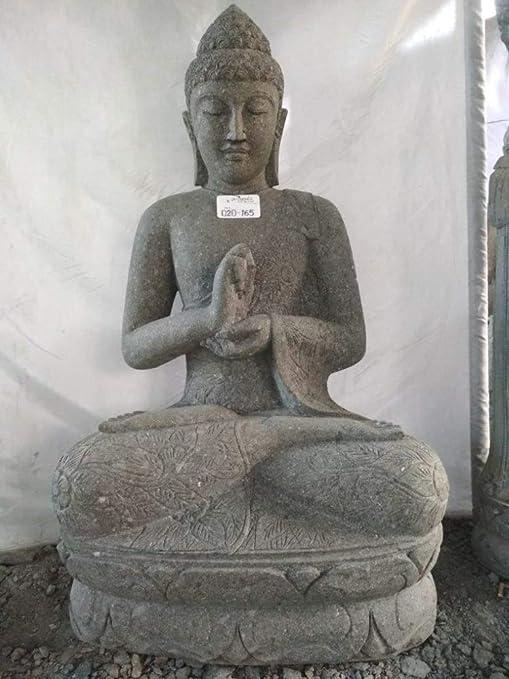 wanda collection Estatua de Buda jardín Zen de Piedra volcánica posición Chakra 1,20 m: Amazon.es: Hogar