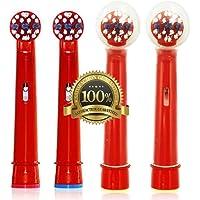 Dr. kao® - Pack de 4 cabezales para cepillo de dientes eléctrico con 2 cabezales para los niños cabezales de cepillo - fabricado con grado superior Dupont Nylon cabezales de cepillo de dientes