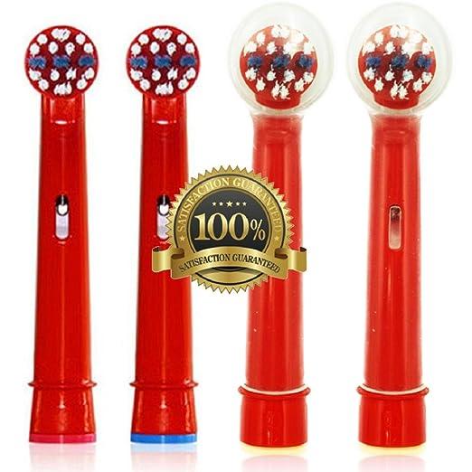 Dr. kao® - Pack de 4 cabezales para cepillo de dientes eléctrico con 2 cabezales para los niños cabezales de cepillo - fabricado con grado superior Dupont ...
