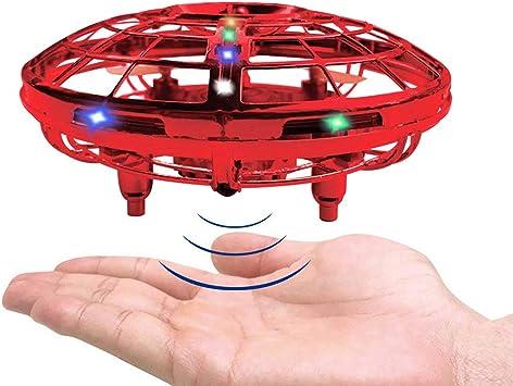 Opinión sobre RAND SET Versión Mejorada del Mini Drone UFO de Juguete con Luces LED Sensor de Infrarrojos de Juguete Volador Control Manual Juguete Volador Recargable Fácil de Usar-Rojo