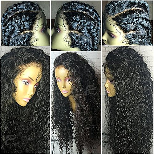 Fushen Hair 360 Lace Frontal Wigs 180% Denisty Lace Front Human Hair Wigs for Black Women Curly Brazilian Virgin Hair Pre Plucked 360 Lace Wigs with Baby Hair (14inch with 180% density, Curly) (Black Human Wigs Hair)