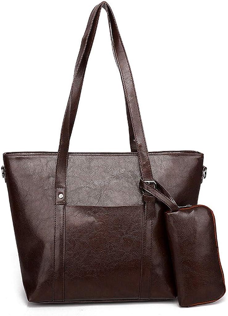 lmx+3f Mothers Day Totes Shoulder Bag+Clutch Bag for Vintage Women Leather Solid Color Hand Bag Coin Purse Handbag