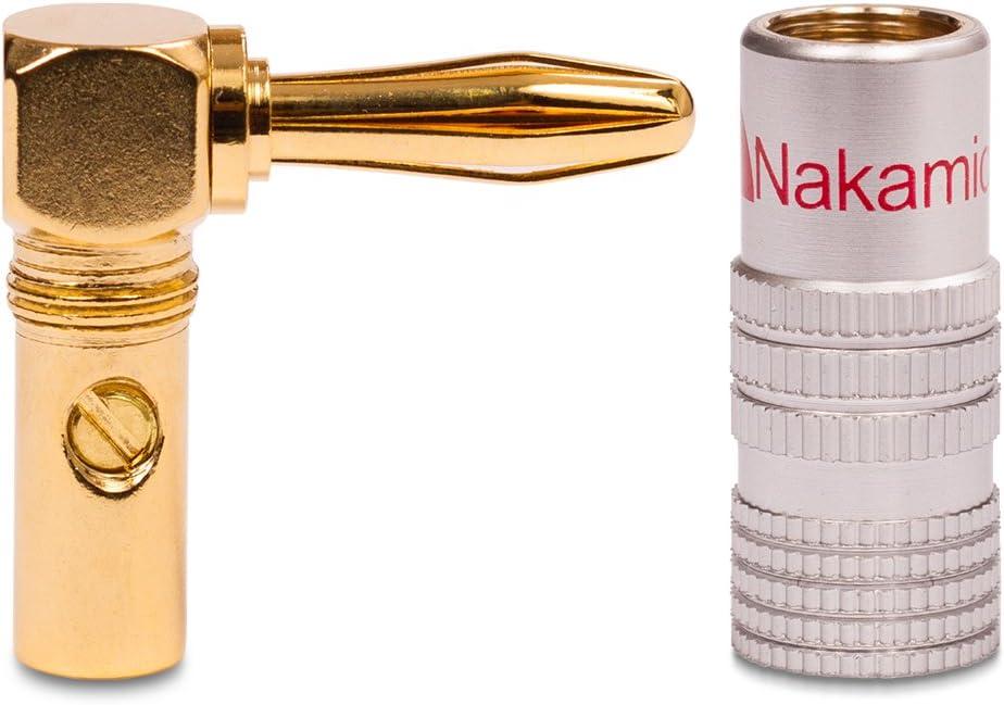 6mm/² NAUC 2X High End Nakamichi Bananenstecker vergoldet Winkel Bananas Banana 24K b