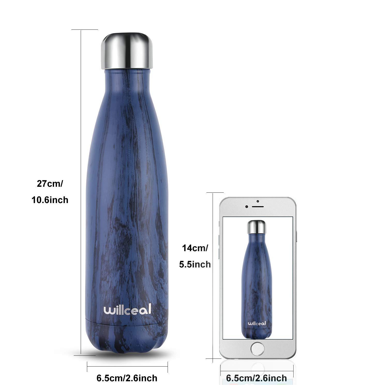 Willceal - Botella de agua de doble pared de acero inoxidable con aislamiento al vacío, 500 ml, a prueba de fugas, para mantener el frío y bebidas ...