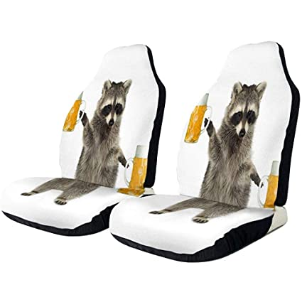 Amazon.es: fingww Car Seat Covers Mapache con Cerveza Fundas ...