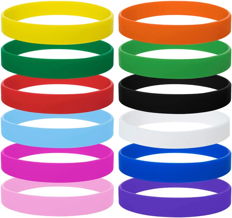 24 Pcs Durable Solid Color Blank Sport Wristbands Silicone Rubber Bracelets