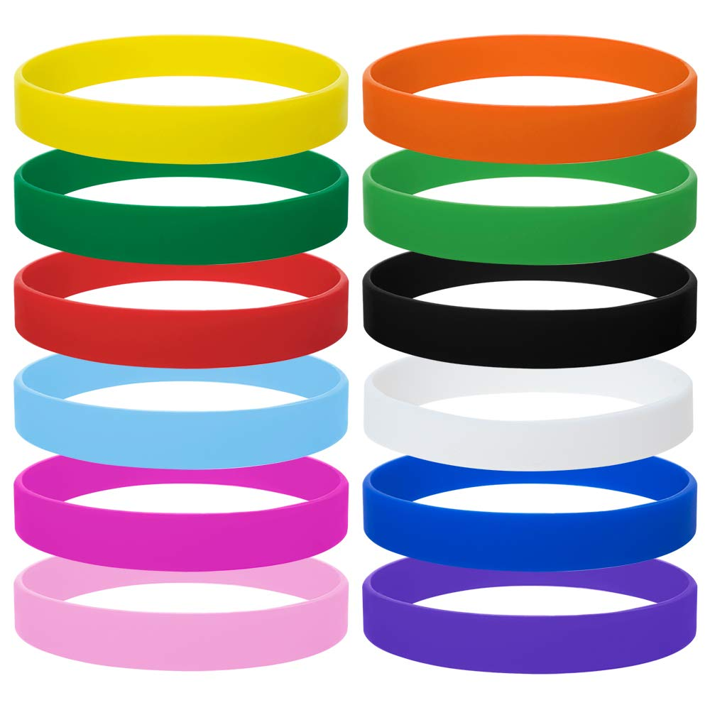 GOGO 12PCS Rubber Bracelets for Kids Silicone Rubber Wrist Bands for Events Party Favors - Assorted