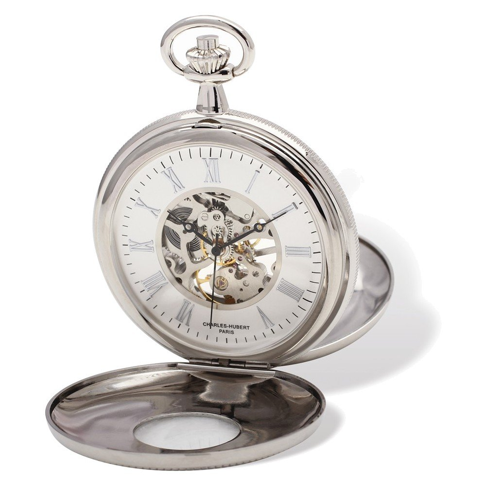 Charles Hubert Chrome Finish White Dial Pocket Watch