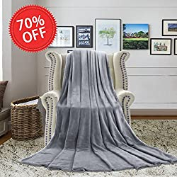 """H.VERSAILTEX Weighted Blanket for Kids Twin Size 66"""" x 90"""" Thermal fleece Baby Blanket Reversible Fuzzy Bed Throws Microfiber All Seasons Luxury Fluffy Blanket for Bed or Couch, Grey"""