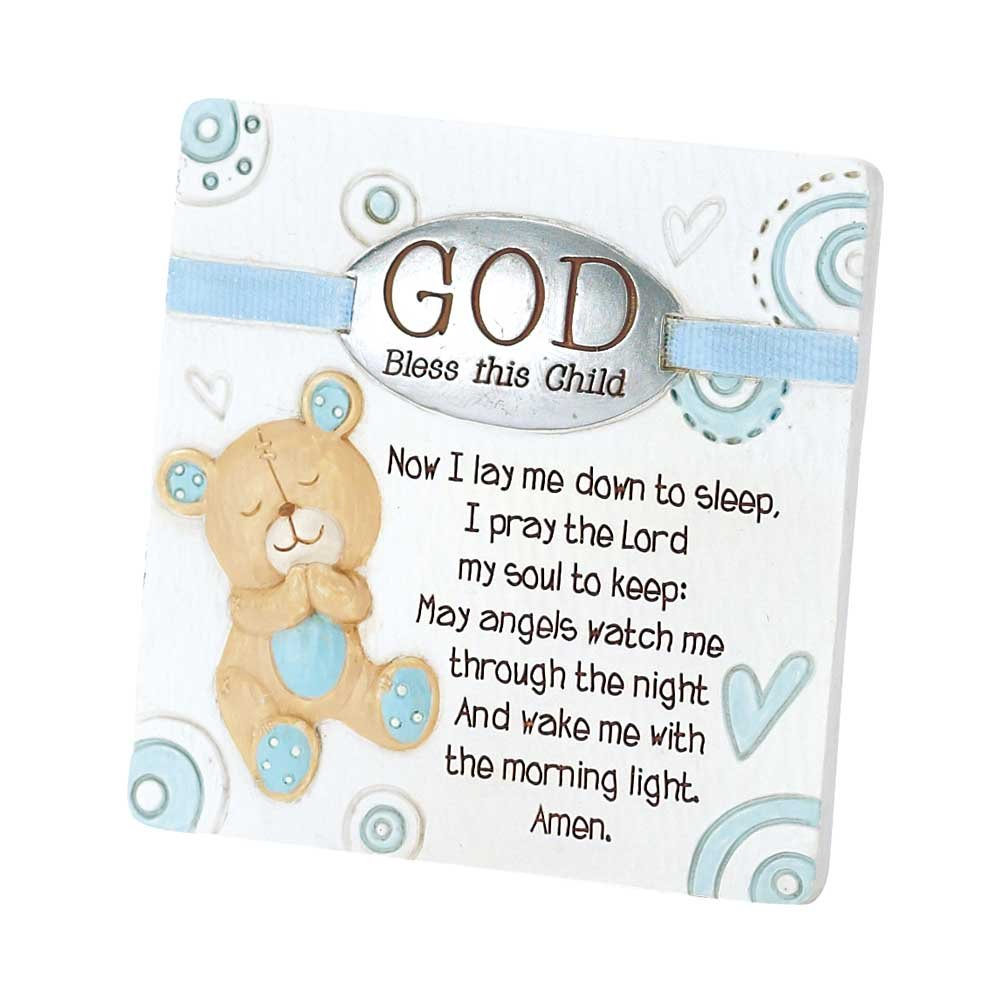 Dicksons Baby Bear God Bless This Child Tabletop Plaque for Boy, White Inc. PLQR-160